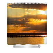 Sunset At National Harbor Shower Curtain