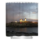 Sunset At Nubble Light Shower Curtain