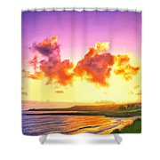 Sunset At Oneloa Beach Maui Shower Curtain