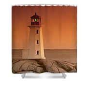 Sunset At Peggy's Cove Lighthouse Shower Curtain