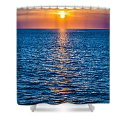 Sunset At Sea With Multiple Color Prizm Shower Curtain