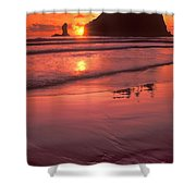 Sunset At Second Beach Olympic National Park Shower Curtain
