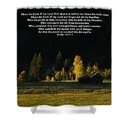 Sunset At The Cabin With Scripture Shower Curtain