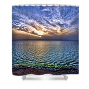 Sunset At The Cliff Beach Shower Curtain by Ron Shoshani
