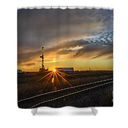 Sunset At The Edge Of Oil Rigs Shower Curtain