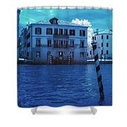 Sunset At The Hotel Canal Grande Venice Italy Near Infrared Blue Shower Curtain