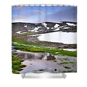 Sunset At The Lake At 3000 M. Hight Shower Curtain