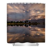 Sunset At The Pond Shower Curtain