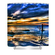 Sunset At Washed Out Pier Shower Curtain