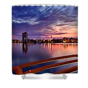 Sunset Balcony Of The West Palm Beach Skyline Shower Curtain by Debra and Dave Vanderlaan