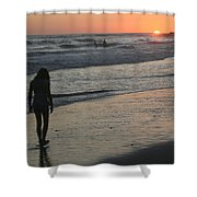 Sunset Beach Silhouette Shower Curtain