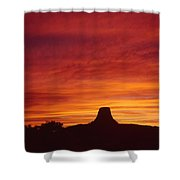 Sunset Behind Devil's Tower Shower Curtain
