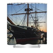 Sunset Behind Hms Warrior Shower Curtain