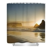 Sunset Behind Offshore Rocks Bandon Shower Curtain by Philippe Widling