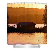 Sunset Boat House Shower Curtain