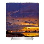 Sunset By Causeway Bridge Shower Curtain
