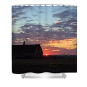 Sunset By The Barn Shower Curtain