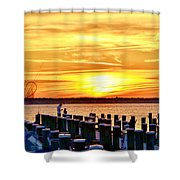 Sunset By The Dock Shower Curtain