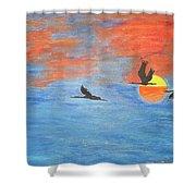 Sunset Cranes Shower Curtain