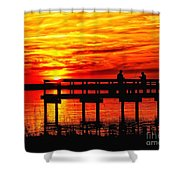 Sunset Fishing At The Pier Shower Curtain