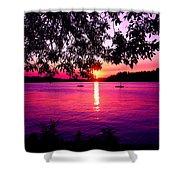 Sunset From Point Fosdick Gig Harbor Washington Shower Curtain