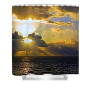 Sunset From The Mumbles Shower Curtain