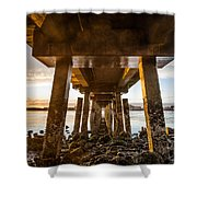Sunset From Under The Pier Shower Curtain
