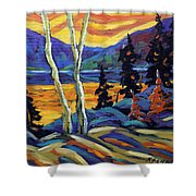 Sunset Geo Landscape Original Oil Painting By Prankearts Shower Curtain