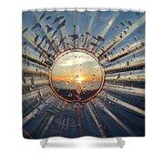 Adelaide Beach Sunset Glass Shower Curtain