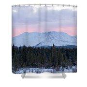 Sunset Glow Behind Winterly Little Peak Yt Canada Shower Curtain