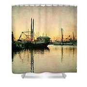 Sunset Harbor Glow Shower Curtain