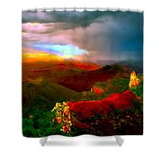 Sunset Imperial Peak North Grand Canyon Panorama Shower Curtain