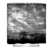 Sunset In Black And White Shower Curtain