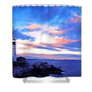 Sunset In Fork Williams Lighthouse Park Portland Maine State Shower Curtain