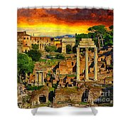 Sunset In Rome Shower Curtain by Stefano Senise