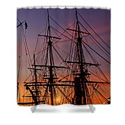 Sunset In San Diego Harbor Shower Curtain