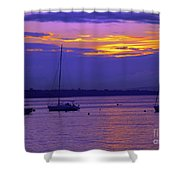 Sunset In Skerries Harbor Shower Curtain