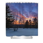 Sunset In The Park Square Shower Curtain