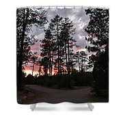 Sunset In The Pines Shower Curtain