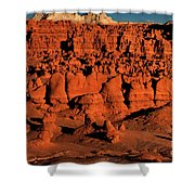 Sunset Light Turns The Hoodoos Blood Red In Goblin Valley State Park Utah Shower Curtain
