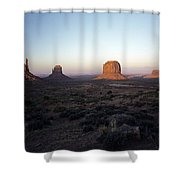 Sunset Light With Mittens And Desert In Monument Valley Arizona  Shower Curtain