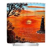 Sunset Lighthouse Shower Curtain