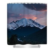 Sunset Mount Rainier Shower Curtain
