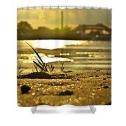 Sunset On A Sandy Beach Shower Curtain