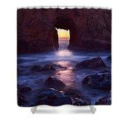 Sunset On Arch Rock In Pfeiffer Beach Big Sur In California. Shower Curtain