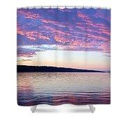Sunset On Cayuga Lake Cornell Sailing Center Ithaca New York Shower Curtain