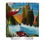 Sunset On Earth Twenty Eight Days After People Shower Curtain