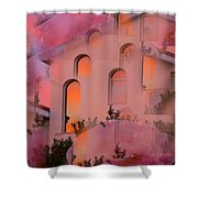 Sunset On Houses Shower Curtain