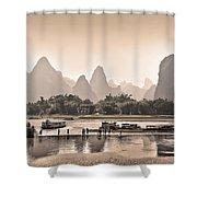Sunset On Li River Shower Curtain