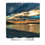Sunset On Rocky Beach Shower Curtain